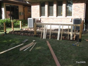 Fenced kitchen garden in progress
