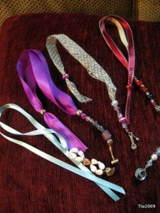 Ribbon and bead book thongs or bookmarks