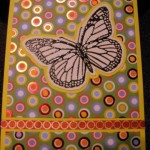 Butterfly and polka dots notecard