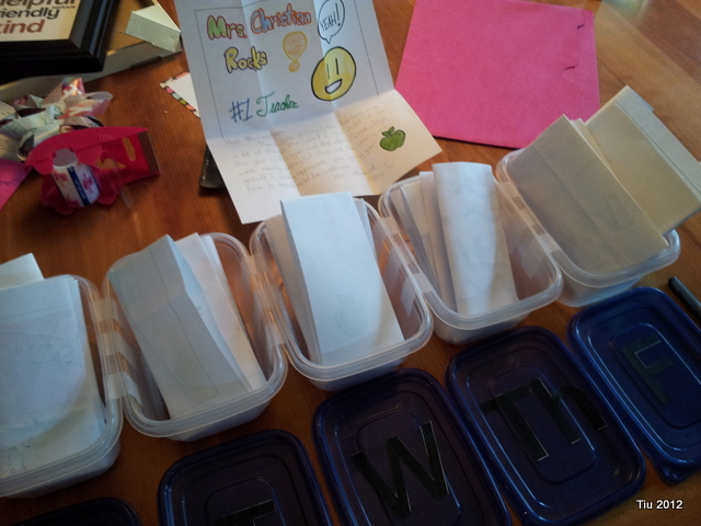 Teacher gift: place letters in the boxes