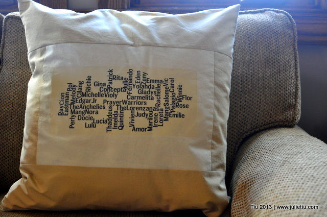 Word Cloud text on a pillow via Iron-On Transfer