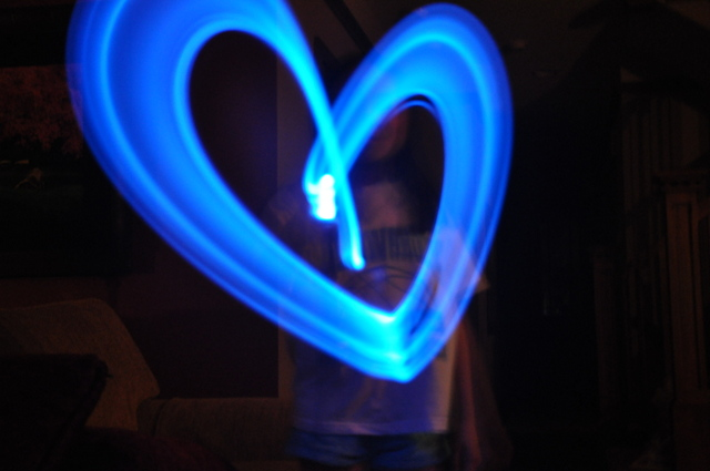 Writing in the dark with flashlights: heart
