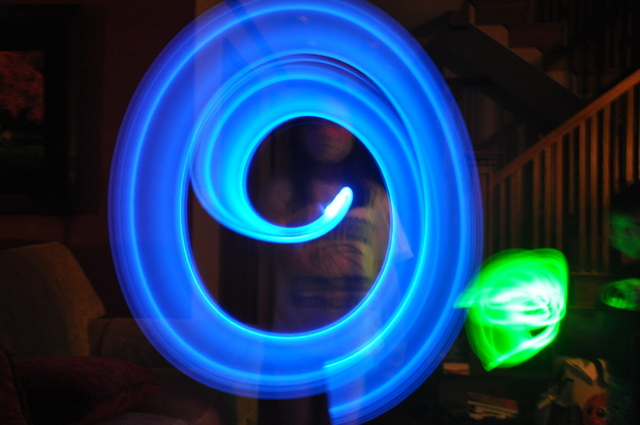Writing in the dark with flashlights: spiral
