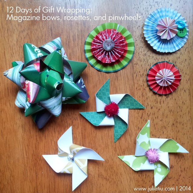 Gift wrapping paper scraps, papercrafting scraps, and magazines are great resources for making your own gift toppers!